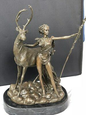 Bronze figure of woman and stag