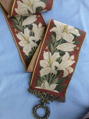 vtg Victorian style needlepoint bell pull wall hanging heavy brass fittings