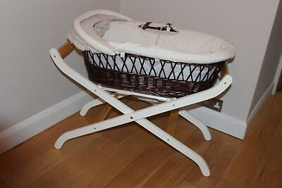 Deluxe Moses basket and stand in perfect condition