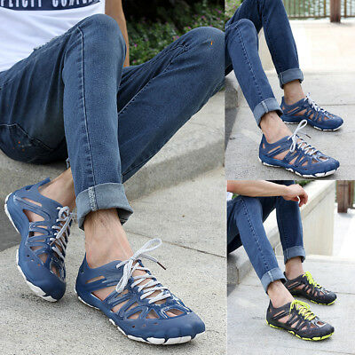 Men Lace Up Sandals Plastic Hollow Out Summer Shoes Water Flats Beach Slippers