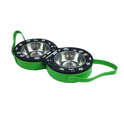 Travel Water and Food Bowl Disguised in Leather Bag for Small Dogs/Cats (Green)