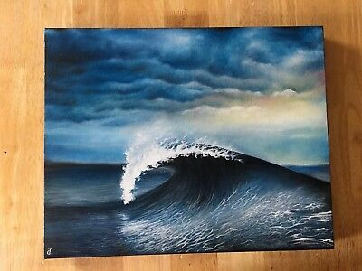 Original Art Oil Painting Ocean Sea Beach Wave Decor Wall Hanging