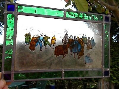 Vintage~Antique Stained Glass Window Panel~Flemish Figures Skating On Ice