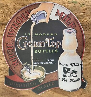 Cream Top Whole Milk Die Cut Cardboard Advertisement / Sign - Modern Bottle