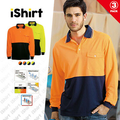3 X Hi Vis Polo Shirt Cooldry Breathable Micromesh Long Sleeve Safety Workwear