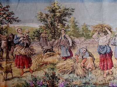 Vintage Woven Tapestry Panel With Farm Animals & Flemmish Figures~Harvest Time
