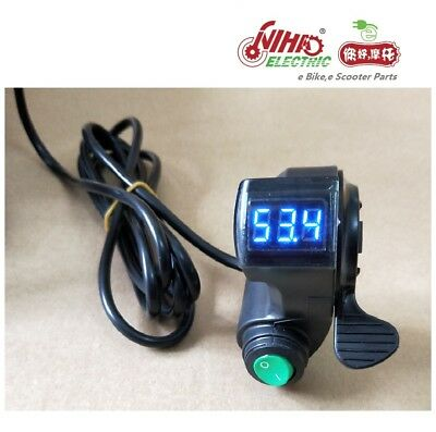 02 Thumb Throttle w/ LCD Digital Battery Voltage Display & Cruise Ebike Bicycle