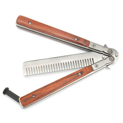 Butterfly Knife Trainning Practice Unsharpened Metal Blade Comb Style Trainer To