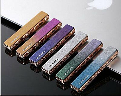 USB Rechargeable Flameless Windproof Frosted Color Coil Slim Lighter w/ Charger