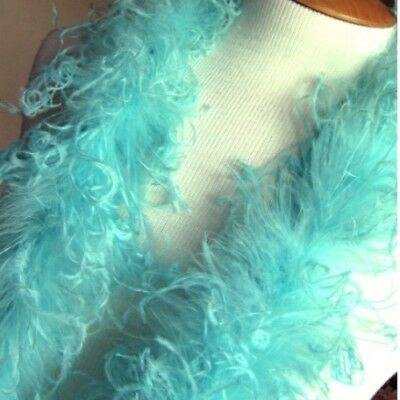 "Teal Curly Ostrich Marabou Boa - 2 Yards, 72"" long"