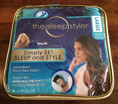 The Sleep Styler -Heat Free Curlers, Includes 8 Large 6 Inch Rollers NEW