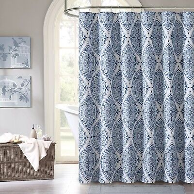 Blue Purple Gray Green White Fabric Shower Curtain Floral Geometric Damask