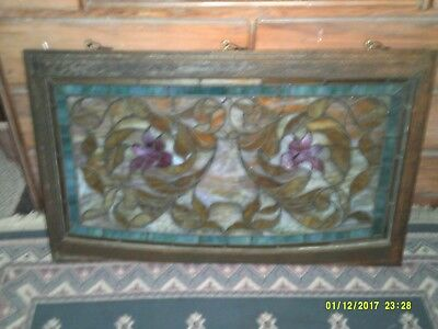 Antique American Victorian Leaded Transom Architectural Art Stained Glass Window