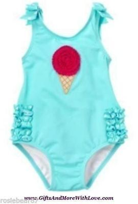 Gymboree NWT 1-piece Lt Blue POPSICLE RUFFLE ICE CREAM DRESS SWIMSUIT 3 6 Months