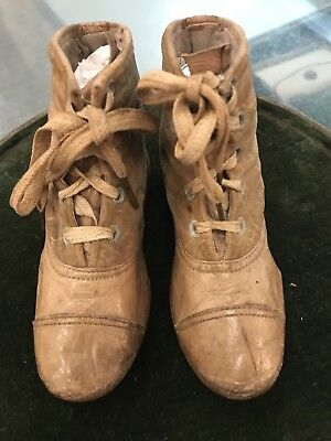 Antique original 1800's VICTORIAN LEATHER Velvet BOOTS One Pair Baby/Child SHOES