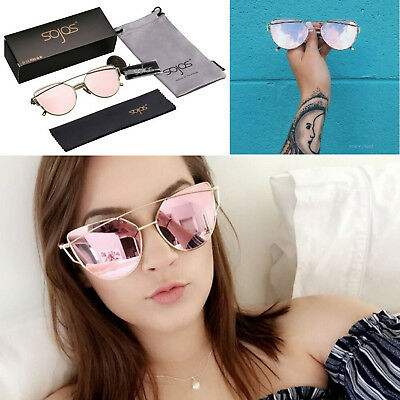 ROSE GOLD Cat Eye Ladies Mirrored Sunglasses Designer SojoS Fashion Women UV400