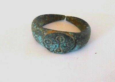 Byzantine Bronze Ring With Cross