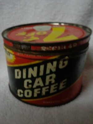 Dining Car Coffee Black Banner Red Background  Vintage Tin Coffee Can