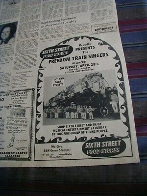 1973 sixth street food stores newspaper ad freedom train singers grocery store