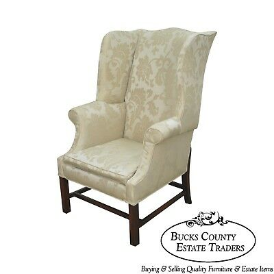 Chippendale Style Custom Quality Mahogany Wing Chair