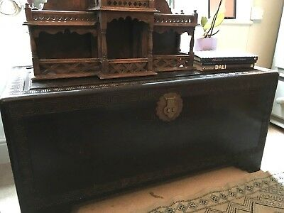 Antique Large Chinese Solid Carved Wooden Camphor Coffer/Chest c1900