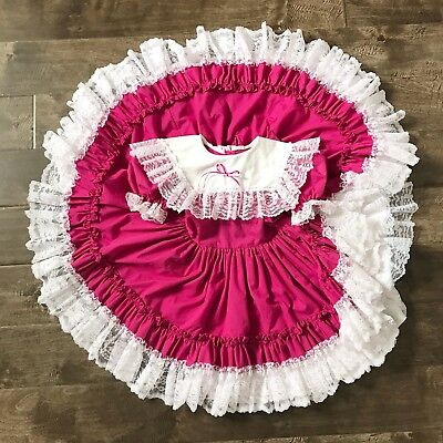 Vintage Fuschia Southern Belle Full Circle Ruffle Lace Party Dress Girls Size 5