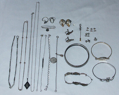 LOT of STERLING SILVER JEWELRY TAXCO - 80+ GRAMS SCRAP - NECKLACE BRACELET RING