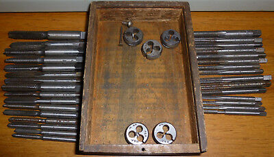 LARGE LOT OF 30 + TAPS mostly CARD & MORSE and DIES IN WOOD BOX VINTAGE