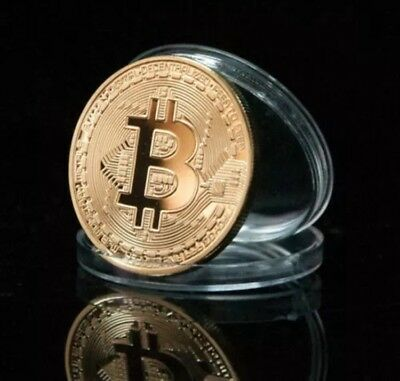 Gold Plated Bitcoin in protective acrylic case! SHIPPED FROM U.S. FAST SHIPPING!