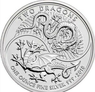 2018 Great Britain 1 oz Silver Two Dragons BU in air tight capsule
