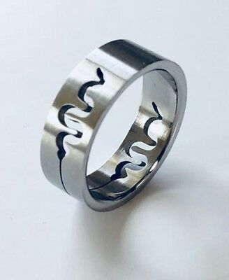 Men Women 316L Stainless Steel Snake 8mm Ring Band Size 7 - 10, 12 NEW SS13