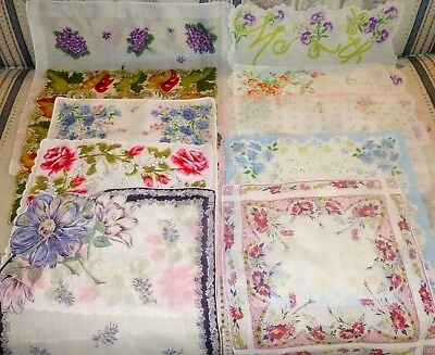 VINTAGE Lot of 10 +1 Ladies HANDKERCHIEF HANKIES Bright Florals,Violets, Motifs