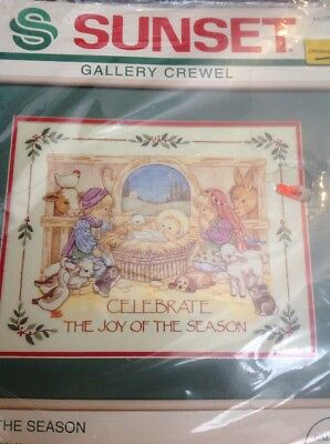 Sunset JOY OF THE SEASON,Crewel Embroidery Kit, MPN 18028,Sealed