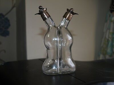 Edwardian Oil and Vinegar Bottles with Silver Mounted Collars and Stoppers
