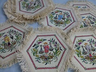 Set 24 antique Chinese Oriental Silk hand embroidered fringed mats