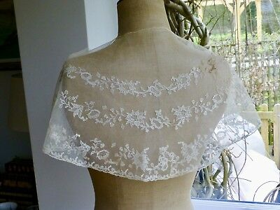 Antq embroidered net tulle lace fichu pelerine collar capelet Early Victorian