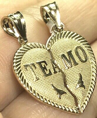 "GOLD TE AMO TeAmo Pendant 14k  Heart Broken Yellow Charm 2 Pc Split 1.05"" 2.5g"