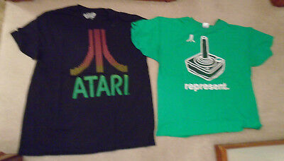 Lot Of 2 Used Green & Black Atari 2600 Joystick Fun Funny T-Shirts Men's Xxl Xl