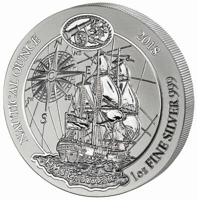 50 FRW Ruanda Silber / Silver Nautical Ounce HMS Endeavour 2018 1 OZ