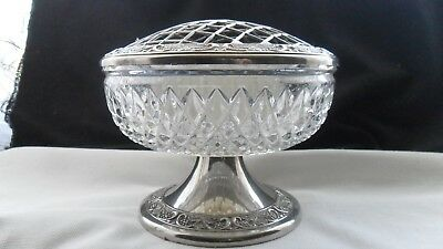 Lovely vintage heavy glass posy-bowl with silver-plated base, by Grenadier.