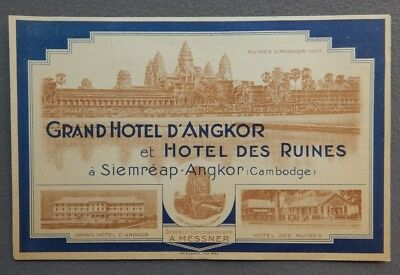 Large Vintage Grand Hotel D'Angkor Cambodge Luggage Label - Cambodia