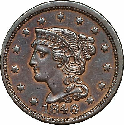 1846 P Braided Head Large Cent, Repunched Date, N-6, AU, 1C About Uncirculated