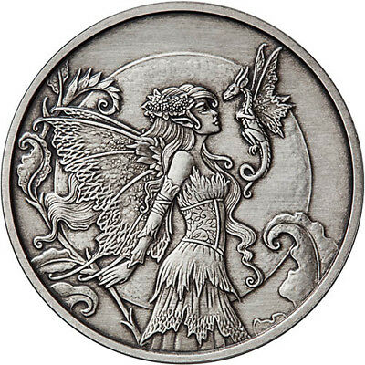 Amy Brown Collection - Discovery Fairy 1 oz .999 Silver Antiqued Finish US Round