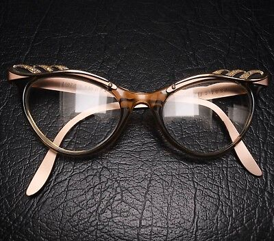 Liberty USA Vintage Rhinestone Retro Cat-Eye Eyeglass Frame Metal 1960s Cateye