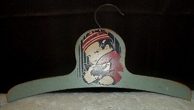 Vintage Painted Child Size Wooden Hanger Little Boy with Dog