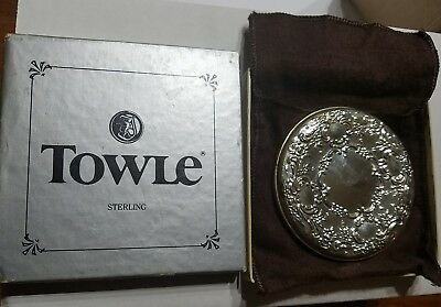 Vintage Towle Sterling Silver Ornate Purse Mirror Original Box Sticker intact