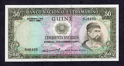 1971 Portuguese Guinea 50 Escudos Uncirculated Paper Money Banknote Currency
