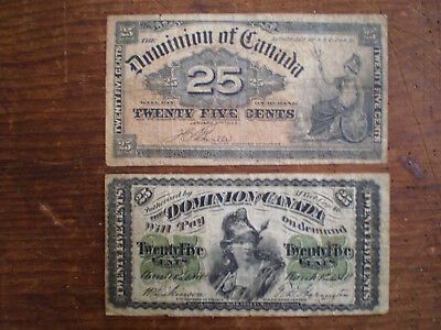 1870 and 1900 DOMINION OF CANADA 25 CENTS Fractional Paper Currency Two Notes