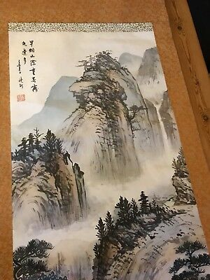 Very Large Rare Old Chinese Scroll Hand Painting Landscape Mark Signed