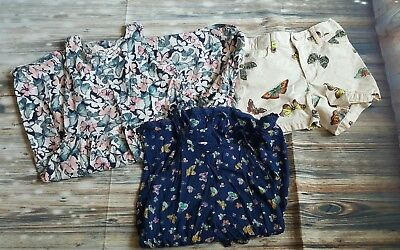 Lot of Girls Butterfly Print Dress Romper Shorts Gap H&M Old Navy Small 6-7 8-10